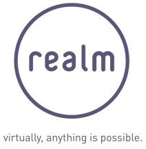 purple circle logo of Realm with strapline 'virtually, anything is possible' playing on their brand of virtual reality and visualisation