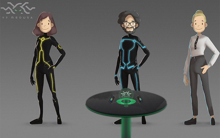 Animated characters within VR Medusa, created by Telesoftas and rendered in the cloud with YellowDog.