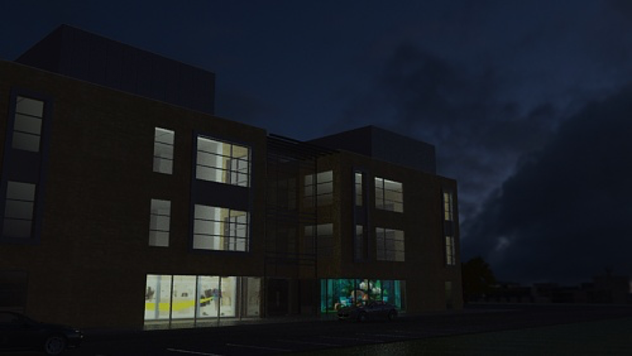 Rendering ambient lighting on the building