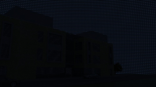 Pitch black render with evening sky