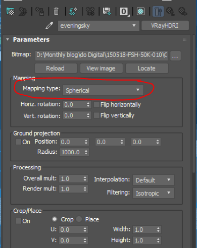 3ds Max parameters with mapping type circled as spherical