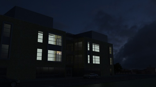 Night time render with building lights on the interior