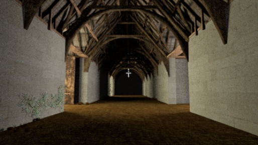 mentalray 3D render of a barn