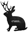 Black and white Cum VFX, motion, and animation studio logo - rabbit or hare with antlers