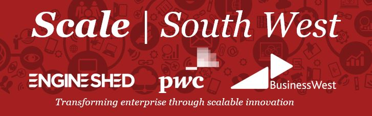 Red Logo with white writing for Scale Programme between Engine Shed, PwC, and Business West.