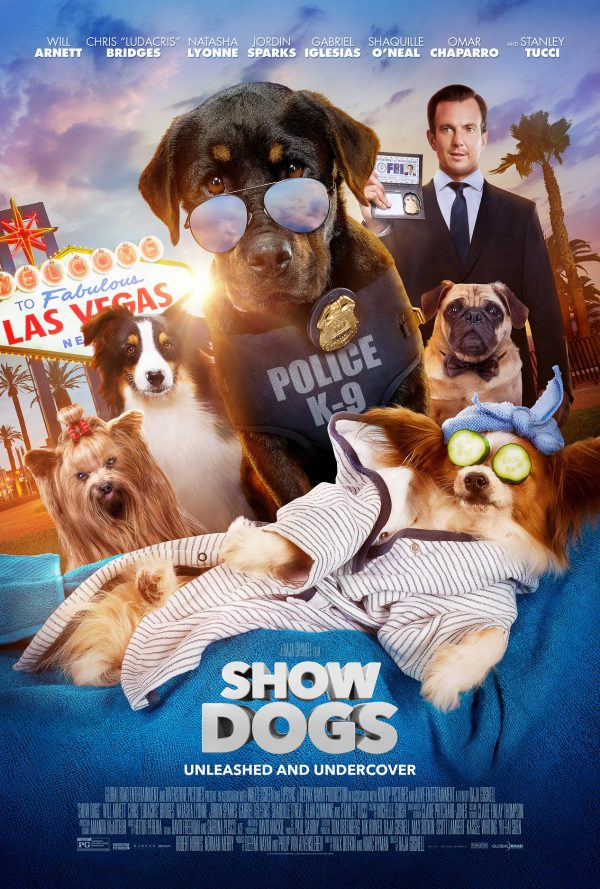 Poster for Show Dogs showing cast members Will Arnett, Ludacris, Natasha Lyonne, Jordin Sparks, Gabriel Inglesias, Shaquille O'Neal, Omar Chaparro, Stanley Tucci