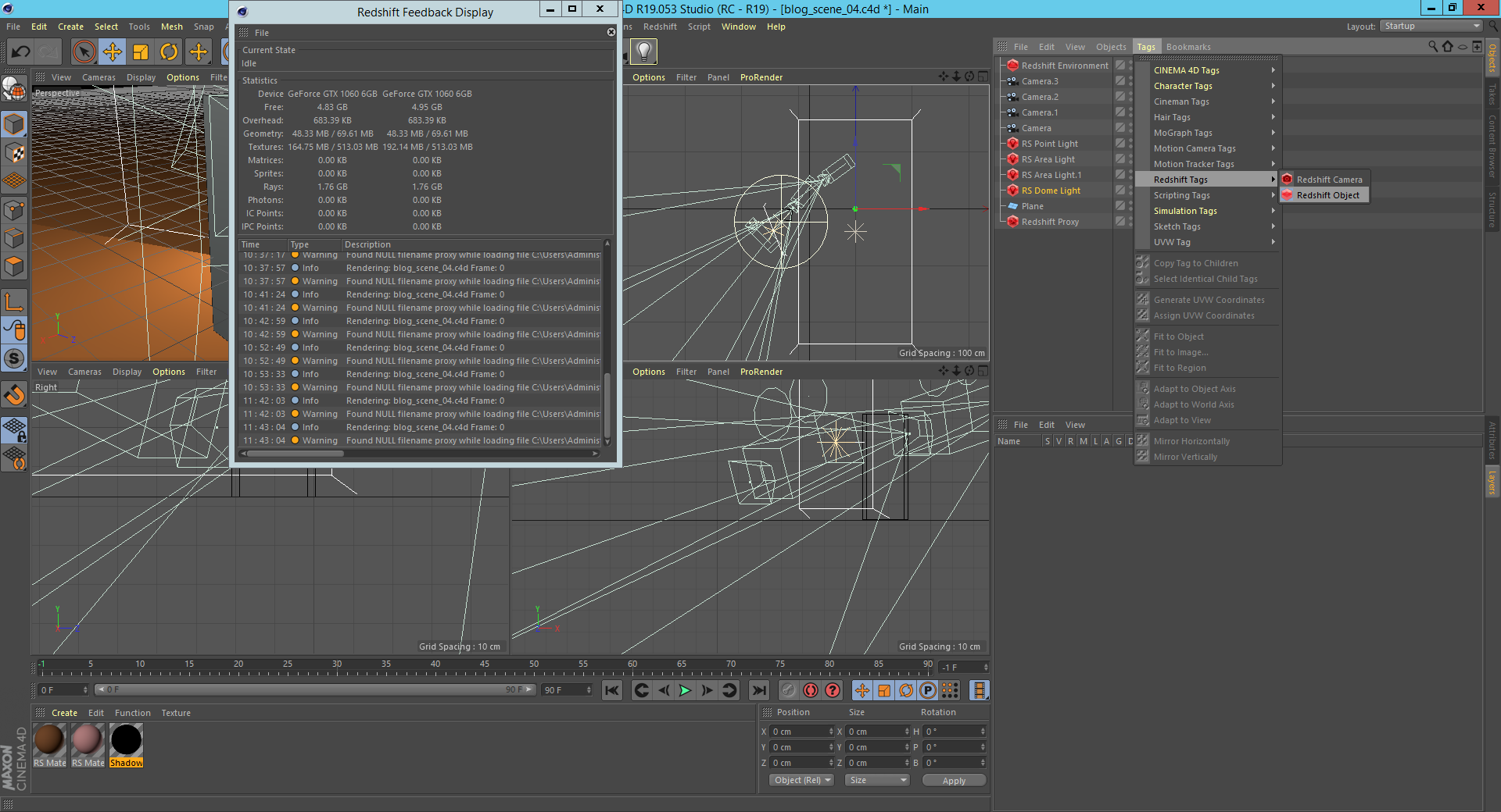 Screenshot of Redshift tag and redshift object selection