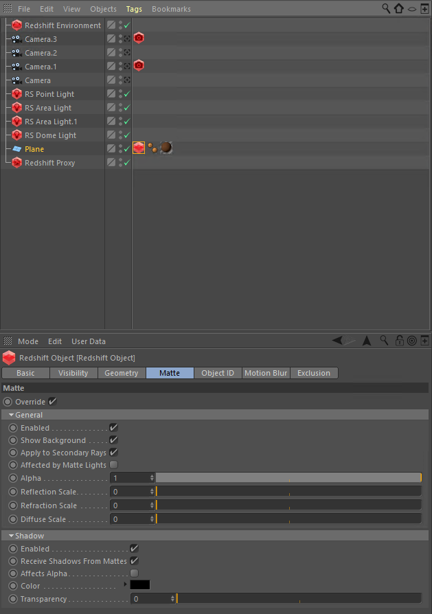 Screenshot of Cinema 4D with Redshift showing matte tab